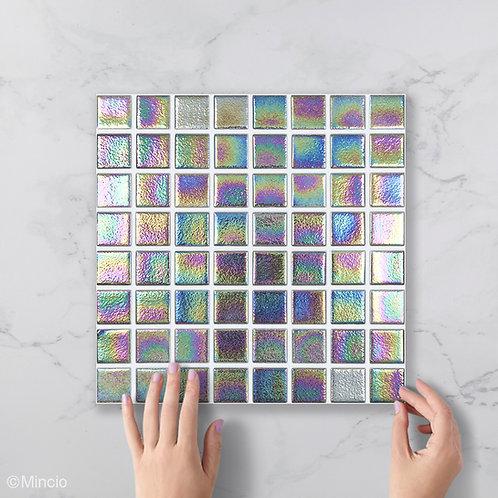 Blauw paarse parelmoer vierkante glasmozaïek 38 x 38 mm tegels