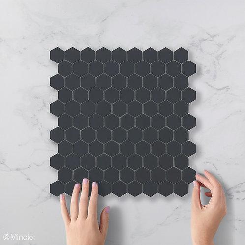 Mat zwarte Hexagon glasmozaïek 35 x 35 mm tegels