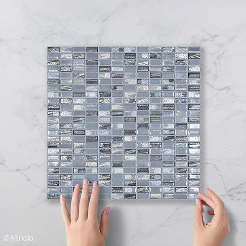 Zilver grijs glans glasmozaïek 12 x 25 mm tegels