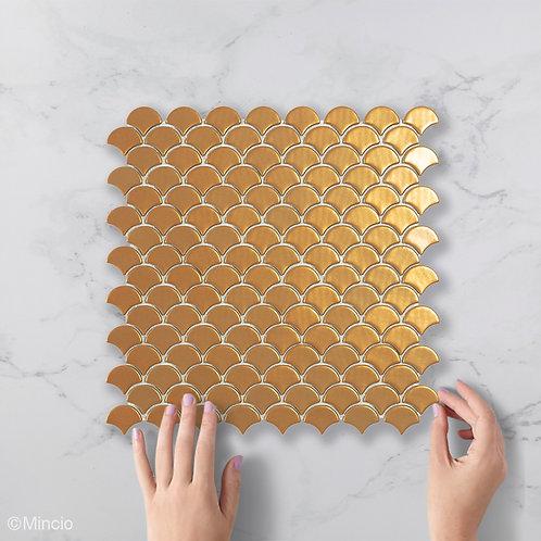 Magisch goud visschub glasmozaïek 36 x 29 mm tegels