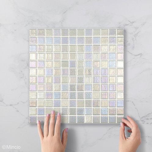 Parelmoer zilver vierkante glasmozaïek 25 x 25 mm tegels