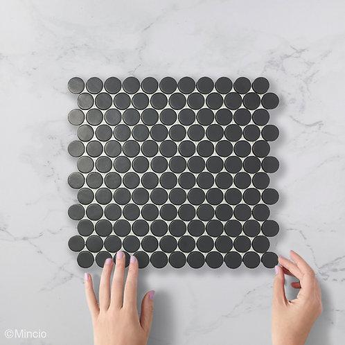 Mat zwarte cirkel glasmozaïek 25 x 25 mm tegels