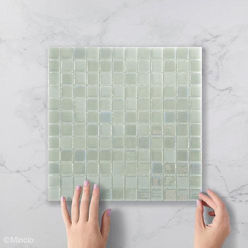 Licht zeegroene glasmozaïek 25 x 25 mm tegels