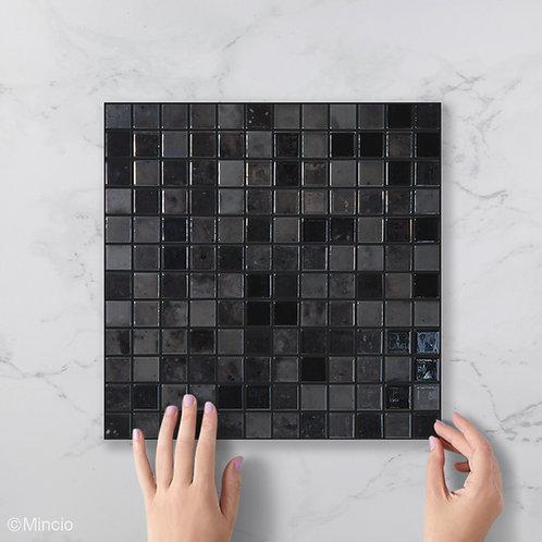 Antraciet vierkante glasmozaïek 25 x 25 mm tegels