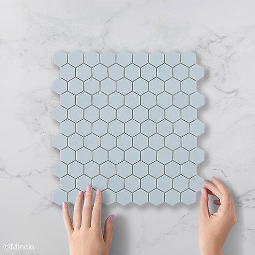 Mat licht blauwe hexagon glasmozaïek 35 x 35 mm tegels