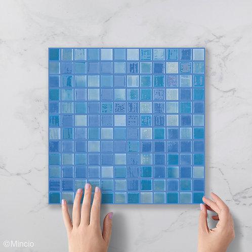 Licht blauwe vierkante glasmozaïek 25 x 25 mm tegels