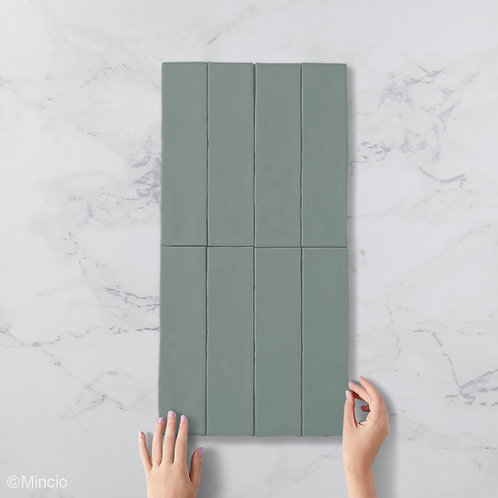 Handvorm metrotegels glazuur mat groene 7.5x30 visgraat wandtegels