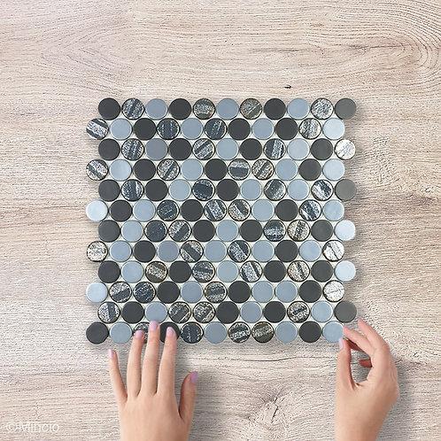 Cirkel zwarte blend glasmozaïek 25 x 25 mm tegels