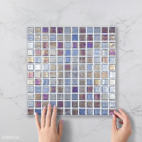 Saffier parelmoer vierkante glasmozaïek 25 x 25 mm tegels
