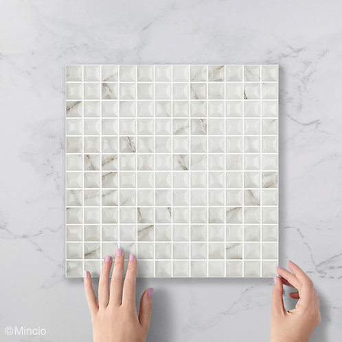 Mat marmer calacatta 3D glasmozaïek 25 x 25 mm tegels