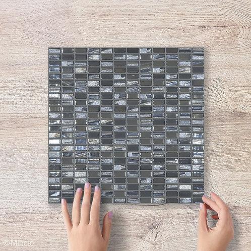 Zwarte rechthoekige glasmozaïek 12 x 25 mm tegels