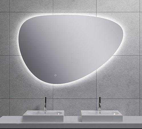 Spiegel asymmetrisch met indirecte dimbare verlichting & spiegelverwarming 120cm