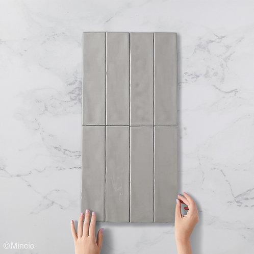 Handvorm metrotegels glans grijs 7.5x30 visgraat wandtegels