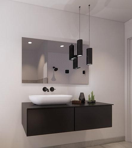 Spiegel rechthoek zonder rand op geborsteld aluminium frame 120x70 cm