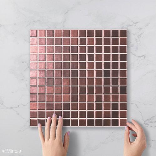 Magisch brons vierkante glasmozaïek 25 x 25 mm  tegels