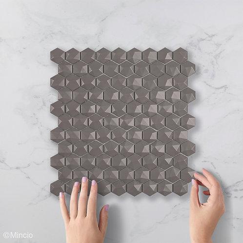 Mat frappé hexagon 3D glasmozaïek 35 x 35 mm tegels