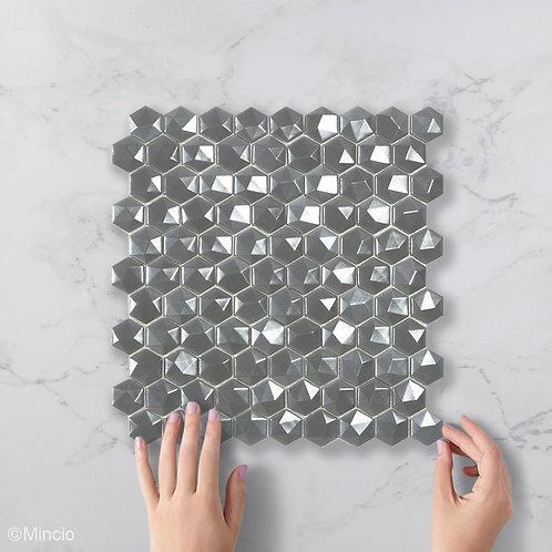 Magisch zilver 3D hexagon glasmozaïek 35 x 35 mm tegels