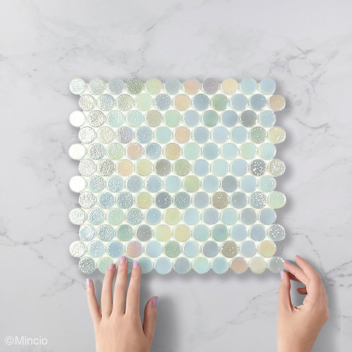 Staal parelmoer cirkel glasmozaïek 25 x 25 mm tegels