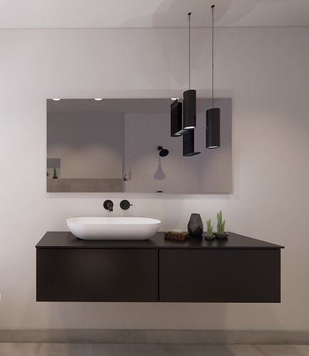 Spiegel rechthoek zonder rand op geborsteld aluminium frame 140x70 cm