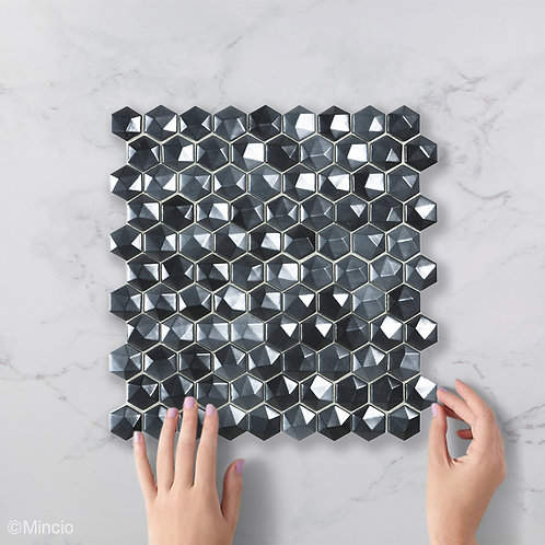 Magisch zwart 3D hexagon glasmozaïek 35 x 35 mm tegels