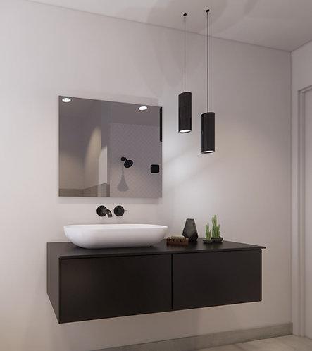 Spiegel rechthoek zonder rand op geborsteld aluminium frame 75x65 cm