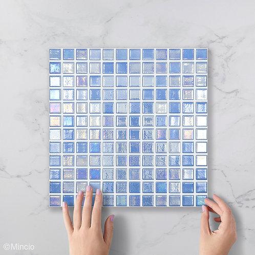 Azuurblauwe vierkante glasmozaïek 25 x 25 mm tegels