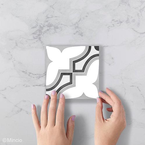 Zwart wit grijs bloemig patroon 15 x 15 wandtegels / vloertegels