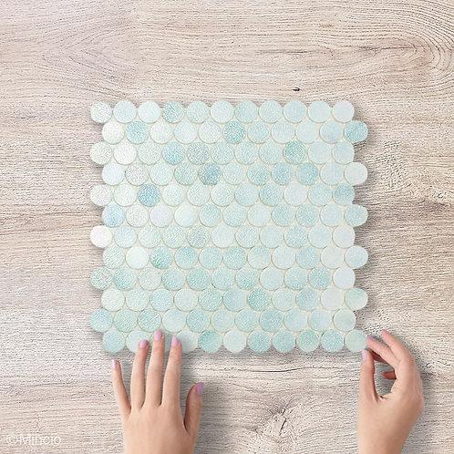 Mint kristal cirkel glasmozaïek 25 x 25 mm tegels