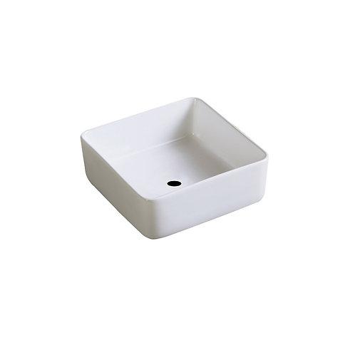 Wastafel 31 x 31 x 12,5 cm vierkant glans wit keramiek
