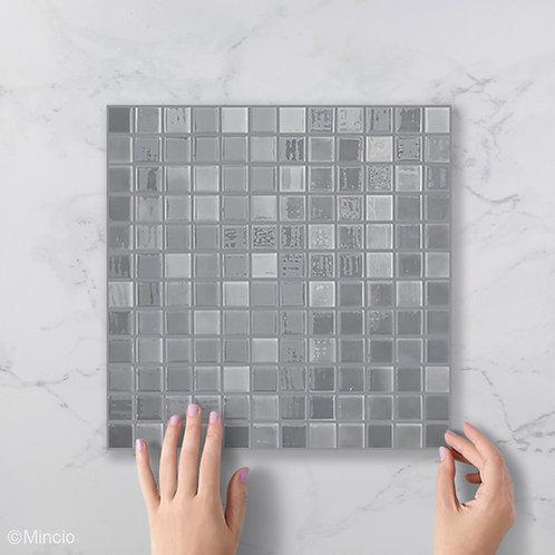 Grijze vierkante glasmozaïek 25 x 25 mm tegels