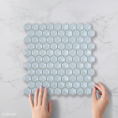Mat licht blauw hexagon 3D glasmozaïek 35 x 35 mm tegels