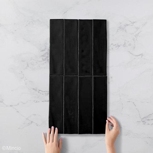Handvorm metrotegels glans zwarte 7.5x30 visgraat wandtegels