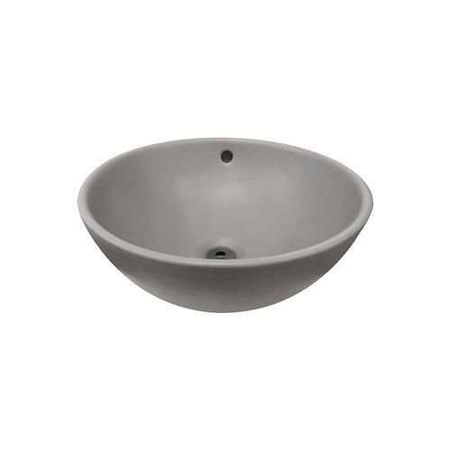 Waskom 38 x 38 x 16 cm rond mat grijs keramiek