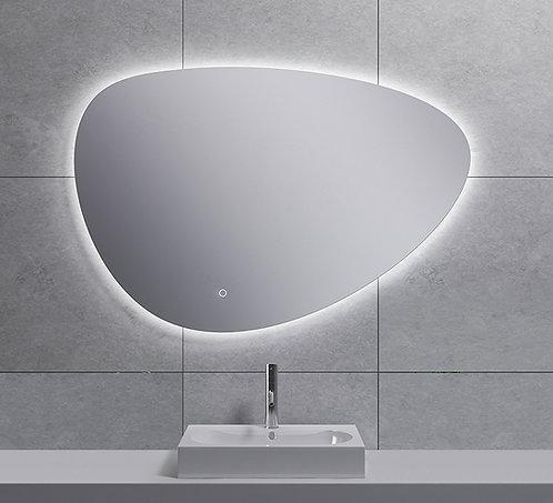 Spiegel asymmetrisch met indirecte dimbare verlichting & spiegelverwarming 100cm