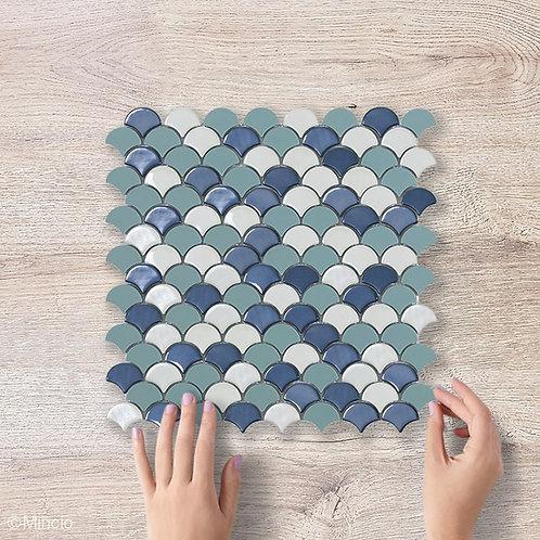Blauwe mix visschub glasmozaïek 36 x 29 mm tegels