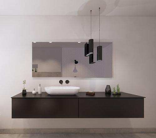 Spiegel rechthoek zonder rand op geborsteld aluminium frame 160x70 cm