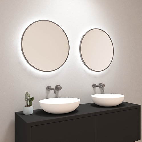 Ronde spiegel met gunmetal black rand incl. led verlichting 60 cm