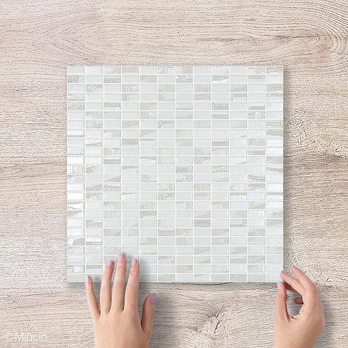 Witte rechthoekige glasmozaïek 12 x 25 mm tegels