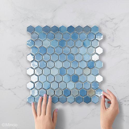 Donker blauwe hexagon glasmozaïek 35 x 35 mm tegels