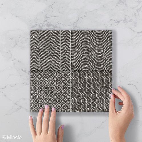 Zwarte patroon tegels 20x20 wandtegels / vloertegels