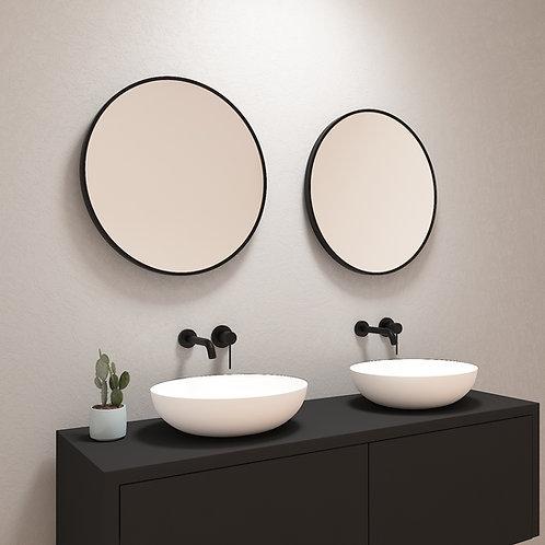 Ronde spiegel met mat zwarte rand zonder verlichting 60 cm