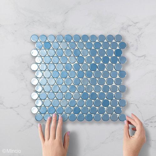 Donker blauwe cirkel glasmozaïek 25 x 25 mm tegels