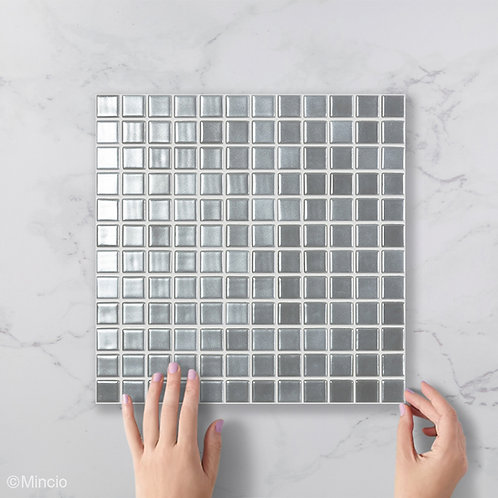 Magisch zilver vierkante glasmozaïek 25 x 25 mm tegels