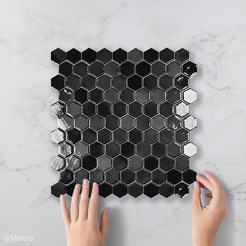 Antraciet hexagon glasmozaïek 35 x 35 mm tegels