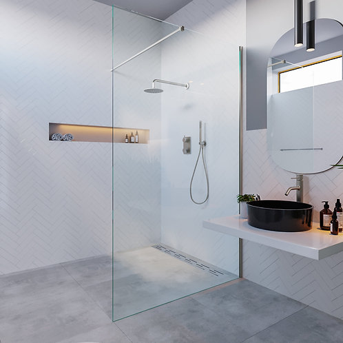 Douchewand 120 cm. helder glas met RVS-304 profiel