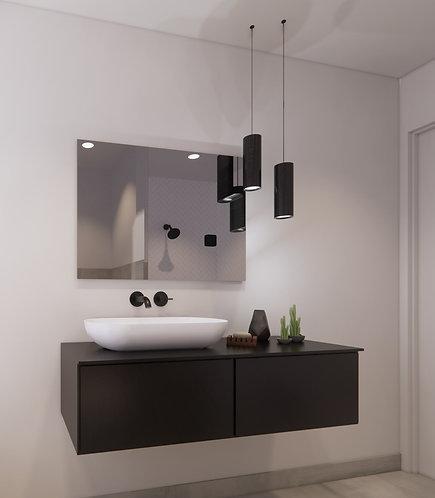 Spiegel rechthoek zonder rand op geborsteld aluminium frame 90x65 cm