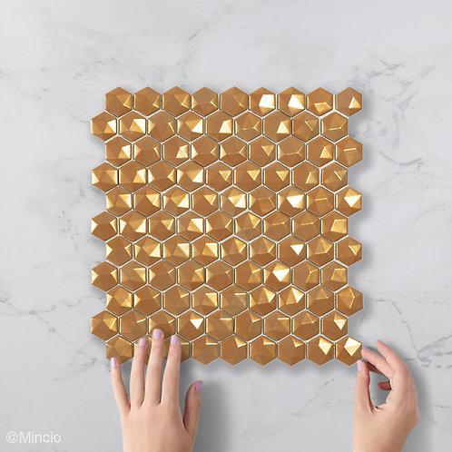 Magisch goud 3D hexagon glasmozaïek 35 x 35 mm tegels