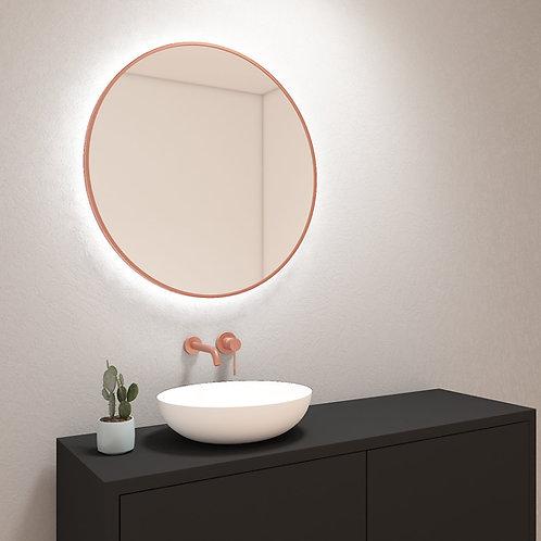 Ronde spiegel met mat rosé-gouden rand incl. led verlichting 80 cm