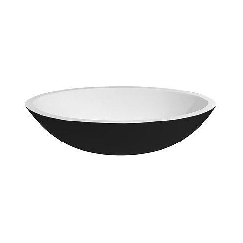 Waskom 52 x 38 x 14 cm mat zwart en mat wit solid surface