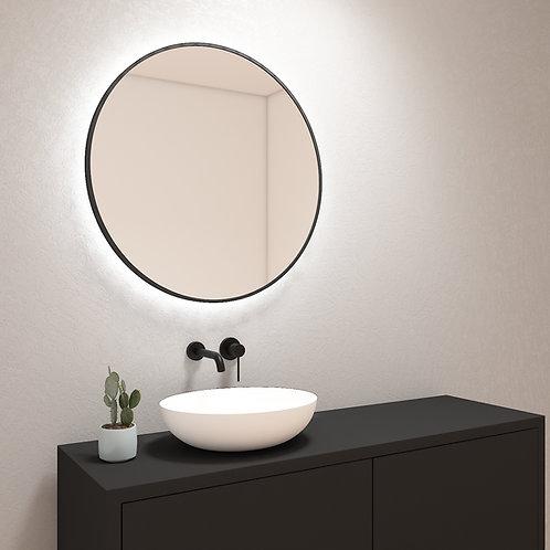 Ronde spiegel met zwarte rand incl. led verlichting 80 cm